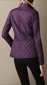 Lyst - Burberry Cinched Waist Quilted Jacket in Purple & Gallery Adamdwight.com