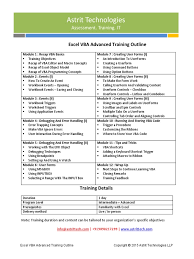 Excel Vba Advanced Training Curriculum Visual Basic For