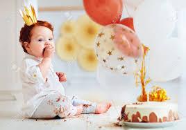 Funny Infant Baby Boy Tasting His 1st Birthday Cake Stock Photo