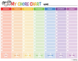 Sample Chore List Document24 Printable Chore Charts Coloring Free Chart For Kids 24f 11