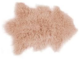 rockwall mongolian sheepskin faux fur single rug dusty rose