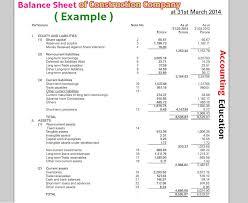 How To Make Balance Sheet Of Construction Company Accounting Education