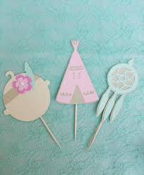 Dream Catcher Baby Shower Cake BOHO Chic Baby Shower Cupcake Toppers Set Of 100 Pow Wow Party 84