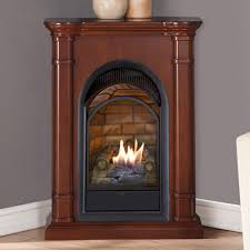 corner gas fireplace ventless in walnut plus grey