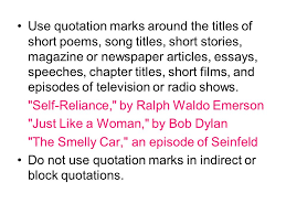 punctuation ppt  use quotation marks around the titles of short poems song titles short stories