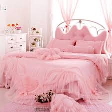 beautiful solid pink vintage lace design frilly and girly shabby chic feminine feel twin full queen size bedding sets