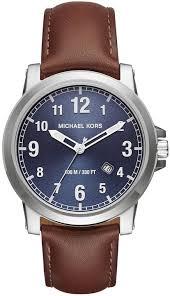 men s michael kors paxton brown leather strap watch mk8501
