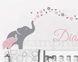 elephants wall decal nursery wall decor elephants decal elephant wall art flowers baby name vinyl sticker girl bedroom k344 on baby elephant wall art for nursery with elephants wall decal moon stars wall decor elephants decal