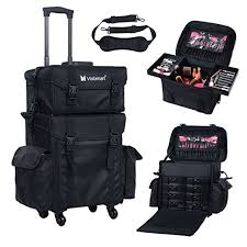 voilamart rolling makeup case trolley 2 in 1 travel cosmetic train cases