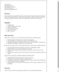 Resume Templates: Ems Supervisor