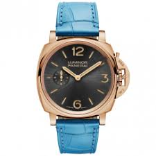 officine panerai watches at berry s jewellers luminor due 3 days oro rosso men s blue leather strap watch