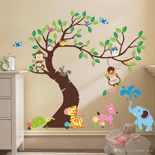 oversize jungle animals tree monkey owl removable wall decal stickers muraux nursery room decor wall stickers