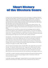 western genre essay it used to be the case that westerns were the most common genre in hollywood