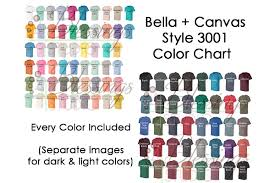 Bella Canvas 3001 Color Chart Mockup Every Color Jpeg Images