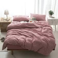 geometric comforter cotton duvet cover bed set bedding sets twin queen pillowcase lattice navy blue print