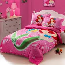 girls twin sheet set the little mermaid hot pink kids girls cartoon bedding set twin size