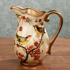 Decorative Ceramic Pitchers Songbird Handpainted Decorative Ceramic Pitcher Ceramic pitcher 1