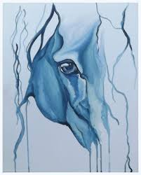 blue abstract horse eye portrait in a water colour style painted in acrylic paint by uk
