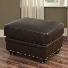 abbyson tamra premium italian leather ottoman brown