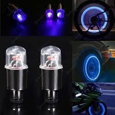 2pcs Car Truck Bike Supplies Neon Blue Strobe Led Tire Valve Cap Lights