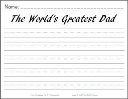 The World's Greatest Dad - Free Printable Writing Prompt Worksheet ...