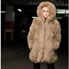 2017 autumn and winter new faux fur hooded coat women imitation hawk fur coat jacket thicker