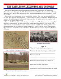 the battles of lexington and concord worksheets social studies  the battles of lexington and concord