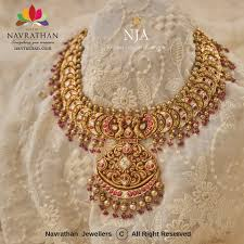 Antique Gold Jewellery Necklace Designs Navrathan Jewellery Antique Gold Necklace Designs
