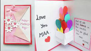 DIY Mother's Day Card/Mother's Day Pop up card making/Pop Up Balloon Card  for Mom - YouTube