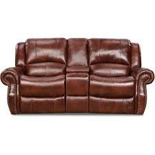 oxblood telluride leather double reclining loveseat