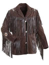 men s traditional western cowboy leather jacket coat with fringe bones and beads