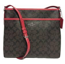 Coach Signature File Crossbody Bag (SV Brown True Red) by Coach