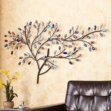 metal wall art tree weeping willow multi color glass sculpture decor hanging