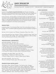 Drama Teacher Resumes Theatre Instructor Resume Sample Get It Sample Resume Resume