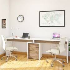 office desk for 2. 400610 Liber-T Home Office Kit - The Features Two Desk Panels And A Filing Cabinet In Contrasting Two-tone Color Palette That Will For 2 W