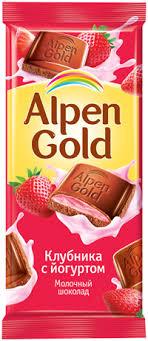 <b>Шоколад ALPEN GOLD молочный</b> с начинкой Клубника с ...