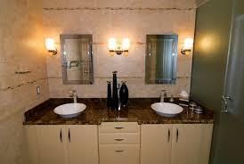 image top vanity lighting. Bathroom:Lovely Bathroom Vanity Lighting Above White Sinks And Brown Marble Top On Image