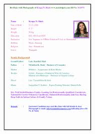 Marriage Biodata Format Word Free Template For You And Resume File