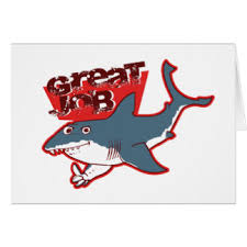 new job humor greeting cards zazzle great white great job funny cartoon card