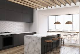 modern kitchen island with seating. Modern Kitchen With Marble Surface Island That Waterfalls Down The Ends Of  Island. Modern Seating I