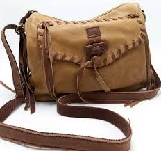 lucky brand brown distressed leather boho cross bag handbag purse 4 pockets