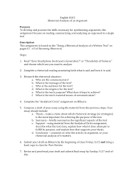 rhetorical analysis of a text assignment