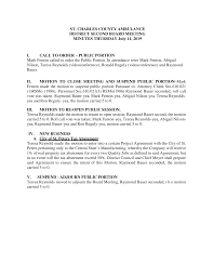 ST. CHARLES COUNTY AMBULANCE DISTRICT SECOND BOARD MEETING MINUTES THURSDAY  July 11, 2019 I. CALL TO ORDER – PUBLIC PORTION Ma