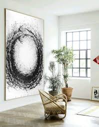 large abstract art hand made acrylic painting minimalist art abstract painting on canvas modern art circle black white celine ziang art