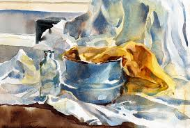 cerulean study watercolor still life painting