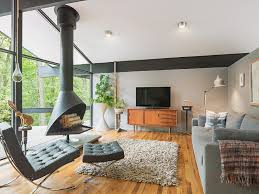 mid century modern fireplace Living Room Midcentury with gray area rug  freestanding fireplace