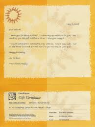 Sample Of Gift Certificate Stationery Used For Friends