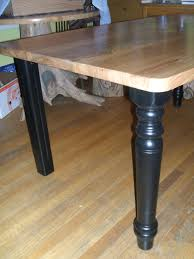 Local Elm Kitchen Table With Repurposed Tables Legs Painted Black