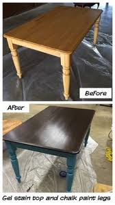 i painted my old kitchen table with general finishes gel stain brown gany and homemade chalk paint legs it came out pretty good considering in was my