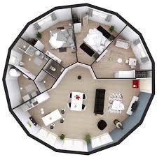 maison ossature bois ronde plan 3d 15 pans plain pied